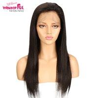 Чудесный 360 парик шнурка прямой Реми натуральные волосы парики для женщин 360 кружева фронтальный парик предварительно сорвал Бесплатная до