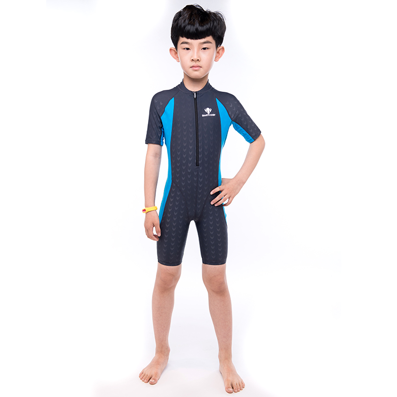 HXBY Professional Short Sleeve Swimsuit Kids Boys Front Zipper Racing Swimming Suit One Piece Training Swimsuit competition racing one piece swimsuit