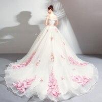 Backlakegirls Vintage Ball Gown Evening Dress Elegant White Off The Shoulder Red Flowers Court Train Evening Gowns 2018 Hot Sale