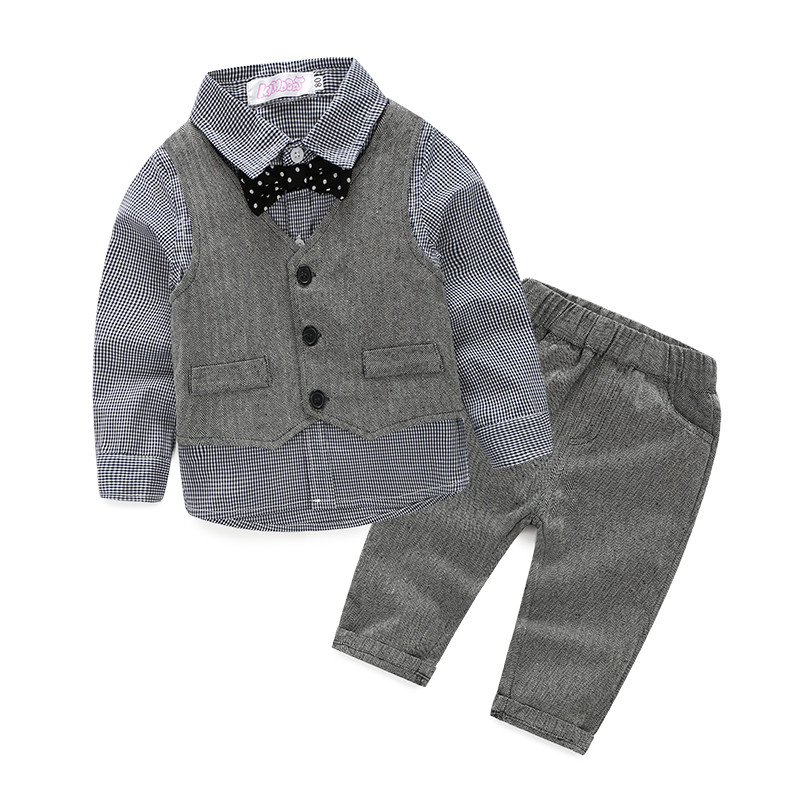 2018 Fashion Baby Boy Clothes Sets Gentleman Bow Tie+Vest+Shirt+Pant 4Pcs Outfit Long Sleeve Boys Girls Clothing Set Kid Clothes