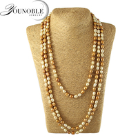 Long Freshwater Pearl Necklace Women Fashion Genuine Natural Pearl Necklaces Wedding Jewelry Girl Birthday Best Gift