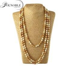 Perlas de agua dulce largo collar de las mujeres, moda genuina perla natural collares joyería de la boda de la muchacha de cumpleaños mejor regalo
