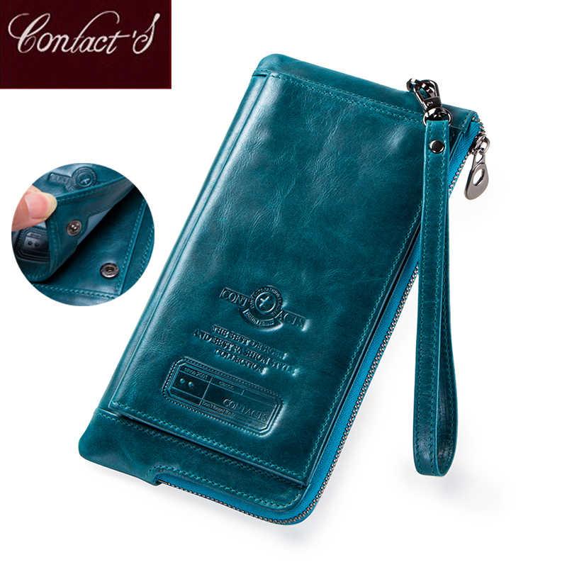 Fashion Dompet Wanita Kulit Asli Koin Dompet Wanita Panjang Walet RFID Pemegang Kartu Kapasitas Besar Tas Genggam Tas dengan Ponsel Pemegang