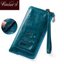 Moda carteira feminina de couro genuíno moeda bolsa feminina longo walet rfid titular do cartão grande capacidade saco embreagem com telefone titular