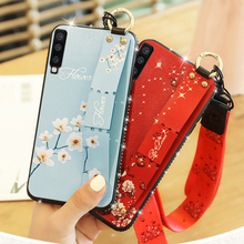 все цены на For Samsung Galaxy A7 A6 A5 A8 2018 Soft silicone Case Floral Strap stand For Samsung a7 A6 A5 A8 Plus 2018 Jewelled Phone Cover онлайн