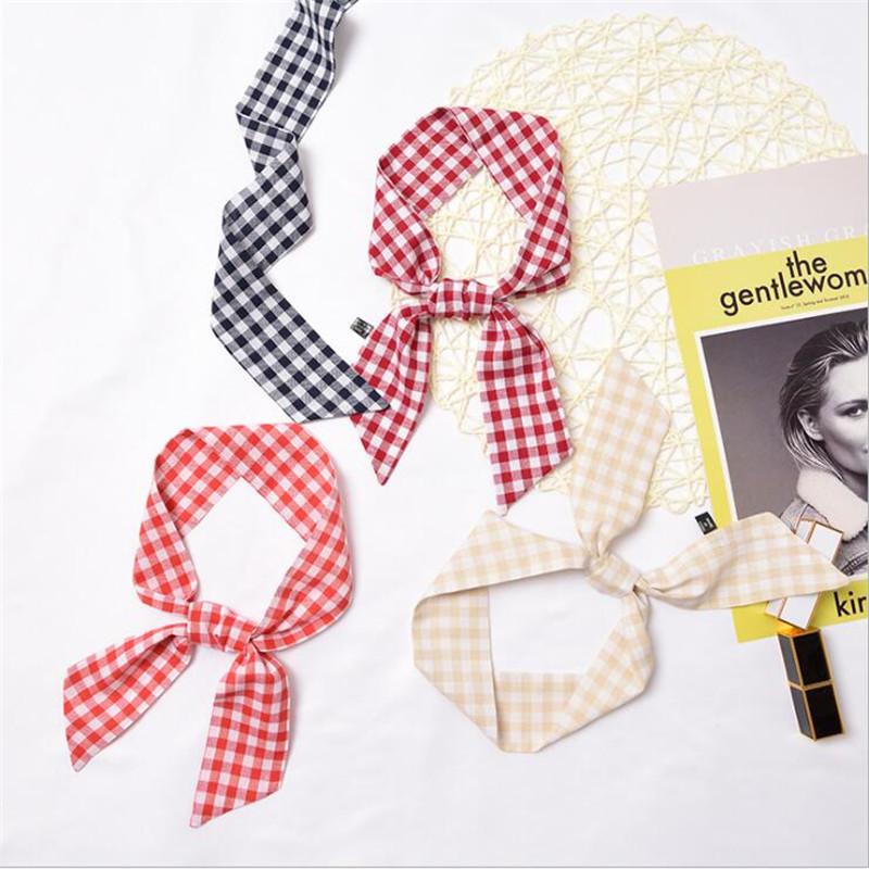 2019 New Women Skinny   Scarf   Cotton   Wrap   Plaid red Black Pink Blue Bag Handle Ribbons Narrow Head Tie Band Neckerchief   Scarves