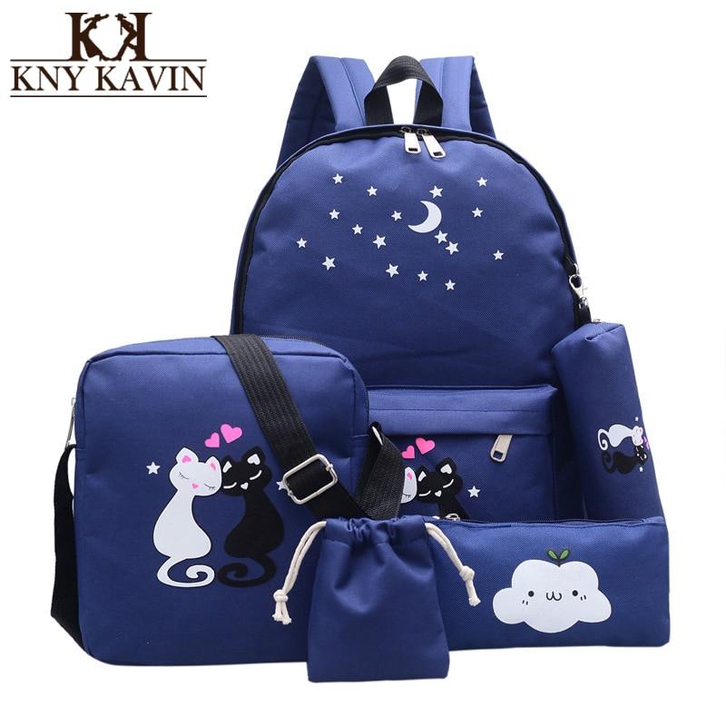 KNY KAVIN 5Pcs/set Women Backpack Schoolbag Casual Canvas Rucksack Lovely Cat School Backpack for Teenager Girls Student Bag Set