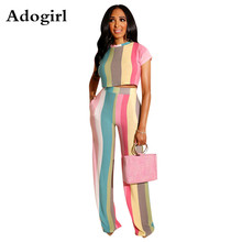 цена на Color Striped Two Piece Set Women o-neck Short Sleeve T-Shirt Crop Top + Wide Leg Pants Outfits Summer Casual Sports Tracksuits