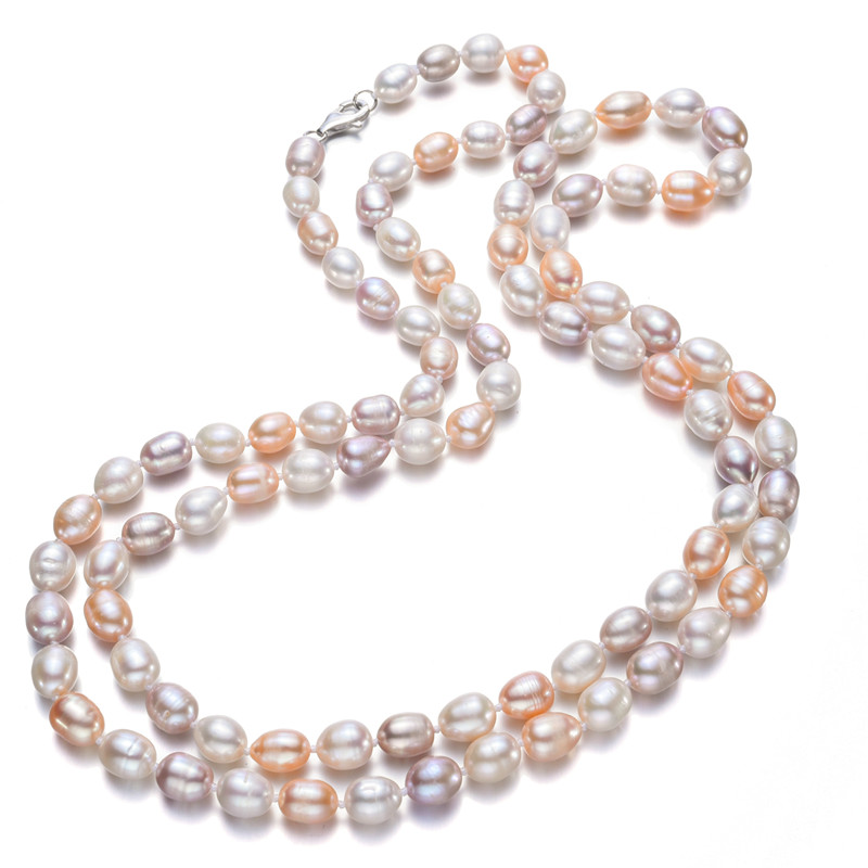 8-9mm rice AA- mixed color Nice Charm Real Freshwater Pearl Necklace For Women 120cm Long Sweater Chain necklace8-9mm rice AA- mixed color Nice Charm Real Freshwater Pearl Necklace For Women 120cm Long Sweater Chain necklace