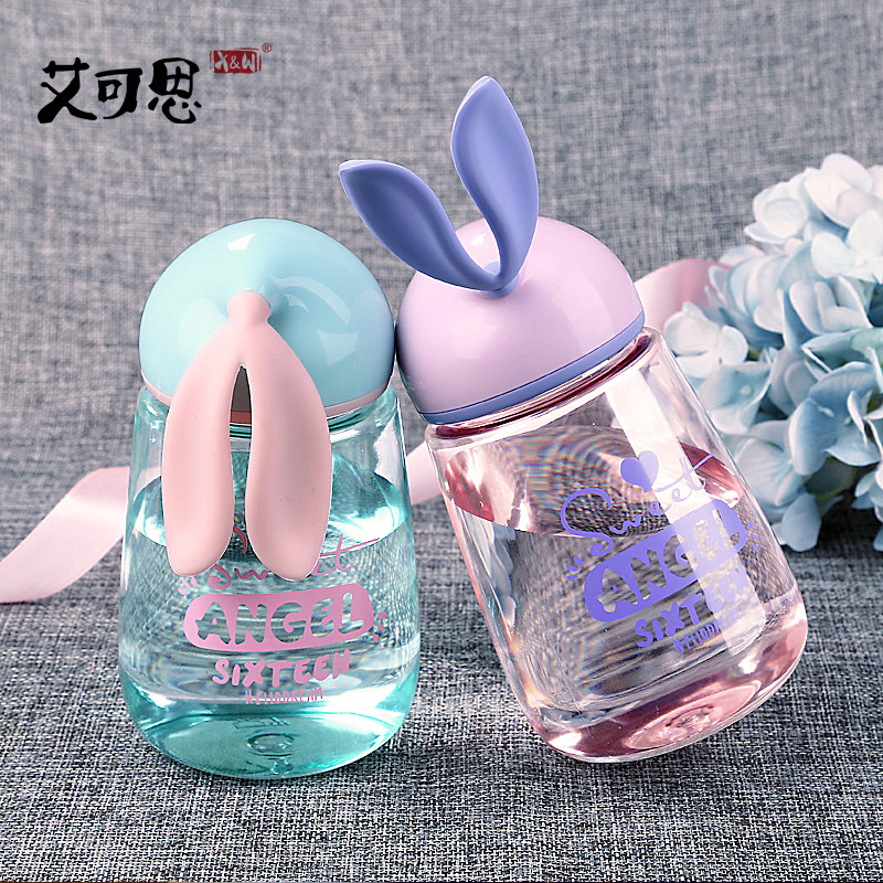 X&W Mini Water Bottle Cute Rabbit Design Sweet Bottle For Student For Girl 400ml Easy Take Leak Proof Bottle For Water Creative
