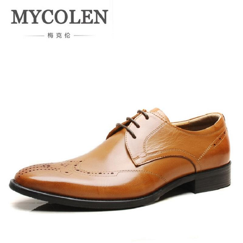 MYCOLEN Brand Men's Business Dress Brogue Shoes For Wedding Party Retro Leather Black Brown Round Toe Oxford Shoes Sapatos mycolen new arrival british style round toe mens leather shoes fashion wedding party business brogue shoes chaussure homme