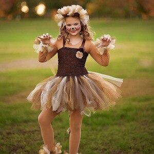 Image 5 - ילדה חום האריה טוטו שמלת תינוק בנות מסיבת יום הולדת שמלה עם סרט ילדים ליל כל הקדושים תחרות לבצע בעלי החיים Cosplay תלבושות