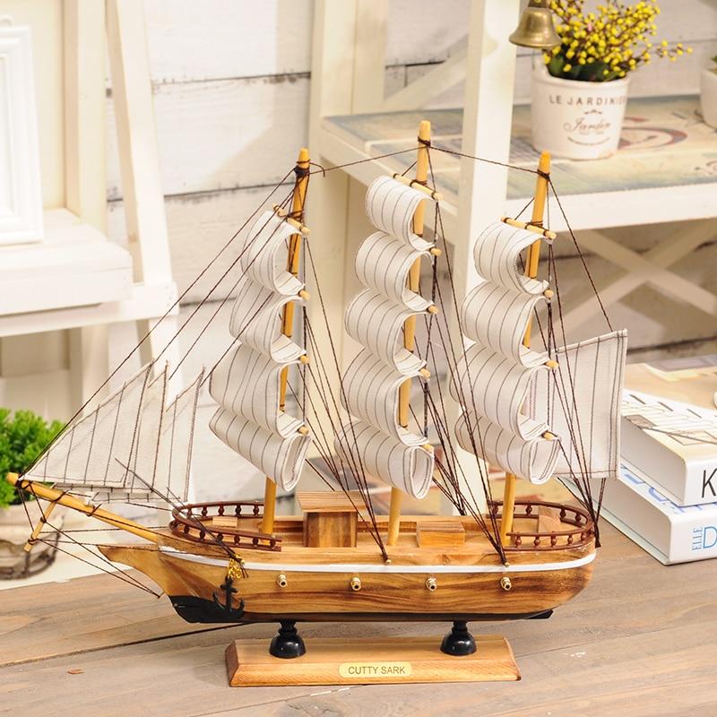 Sailboat Home Decor: Wooden Sailing Model Desk Ornaments Sailboat Nautical Home