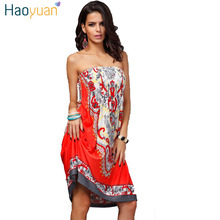 HAOYUAN Sexy Summer Dress Vintage Bohemian Vestidos De Festa Print Plus Size Women Clothing Floral Indian Boho Beach Dress Robe