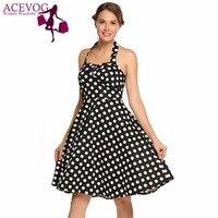 ACEVOG Women's Dress Summer Casual Strapless Sleeveless Knee Length High Waist Spaghetti Strap Dot Party A Line Ladies Dresses