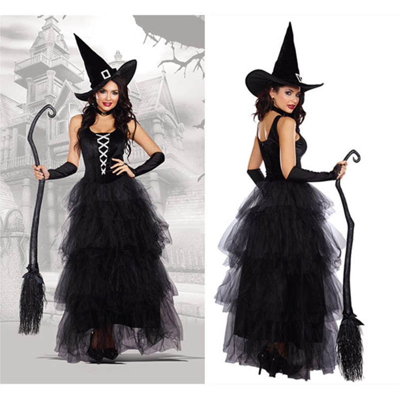Black Gothic Witch Costume For Adult Halloween Sexy Witch Costumes Adult Women Queen Carnival Party Cosplay Wizards Fancy Dress