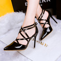 Women Medium Red Golden Sexy Pumps Heels Lady Shoes Fashion Black Pointed Toe Thin High Female Wedding Heel Sandals Shoes