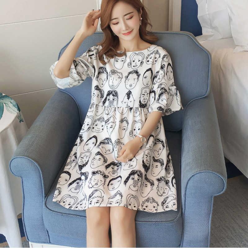 2019 летнее Новое Женское платье повседневное большой размер свободное шифоновое платье с принтом маленький свежий темперамент платье с бантом Vestido LL042