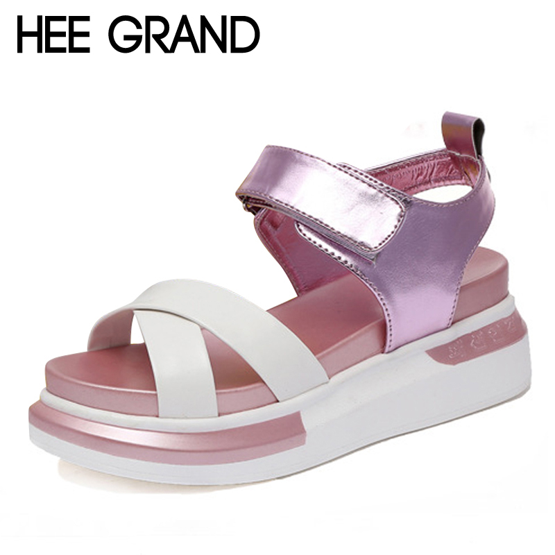 HEE GRAND Platform Gladiator Sandals 2017 New Creepers Summer Fashion Shoes Woman Casual Slip On Women Flats Shoes XWD5665 lanshulan wedges gladiator sandals 2017 summer peep toe platform slippers casual glitters shoes woman slip on flats creepers