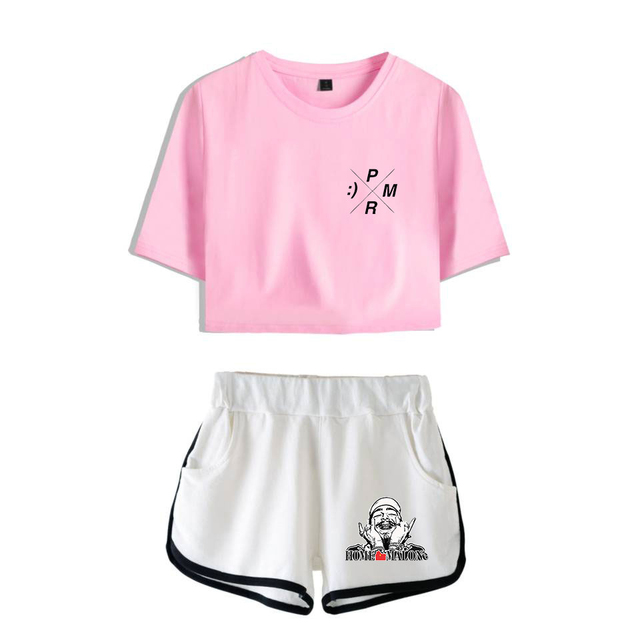 SET POST MALONE CROP TOP + SHORT (28 VARIAN)