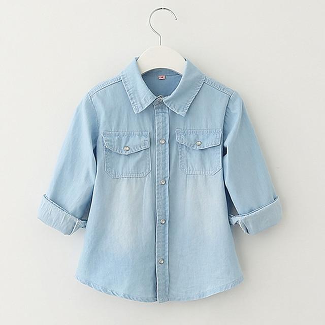 Long Sleeve Jeans Shirt For Boys And Girls Spring Autumn Unisex Children Clothing Vetement Enfant cx007