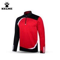 Kelme K15Z316 Men Breathable Half Zip Long Sleeve Stand Collar Knit Training Soccer Jersey Red Black