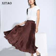 Satin Skirt Pleated Ankle-Length Elegant Solid-Color Fashion Women XITAO Empire A-Line