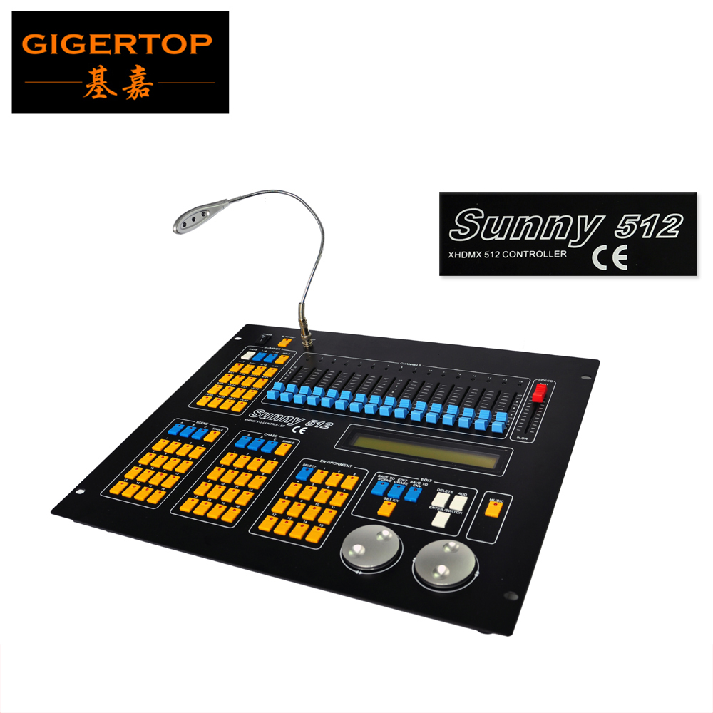 TIPTOP  Sunny 512 DMX Stage Light Controller Black Color DMX IN/OUT Equipped LED Lamp Optical Isolated Independent Drive  tiptop sunny 512 dmx stage light controller black color dmx in out equipped led lamp optical isolated independent drive