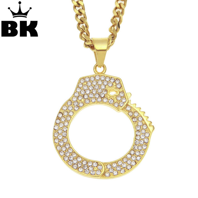 Stainless steel mens gold color hip hop crystal handcuff pendant stainless steel mens gold color hip hop crystal handcuff pendant necklace iced out jewelry rhinestone 5mm aloadofball Image collections