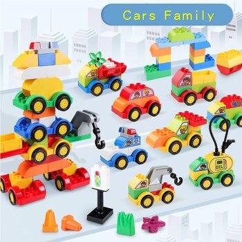 DIY bloques de construcción de la familia del coche de gran tamaño intercambiables vehículos modelo de ladrillos juguetes de aprendizaje para regalo para niño Compatible LegoED Duploes