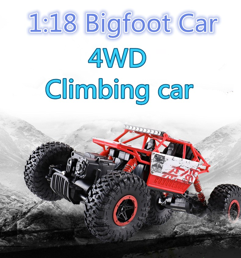 1:18 Bigfoot RC Car 4WD 2.4GHz Rock Crawlers Rally climbing Car 4x4 Double Motors Car Remote Control Model Off-Road Vehicle lynrc rc car 4wd rock crawlers hb180b 4x4 bigfoot double motors off road vehicle use aa battery page 9