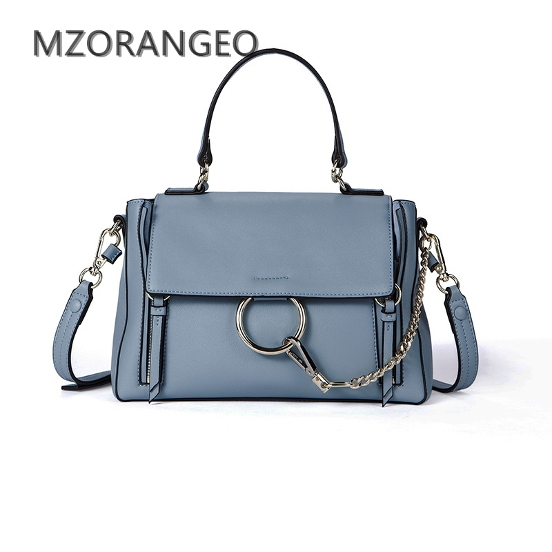 MZORANGEO 2018 Vintage Design Women Genuine Leather Cloe Bag Handbag Fashion Ring Shoulder Bag Small Brand Lady crossbody bags 2018 new style genuine leather woman handbag vintage metal ring cloe shoulder bag ladies casual tote fashion chain crossbody bag