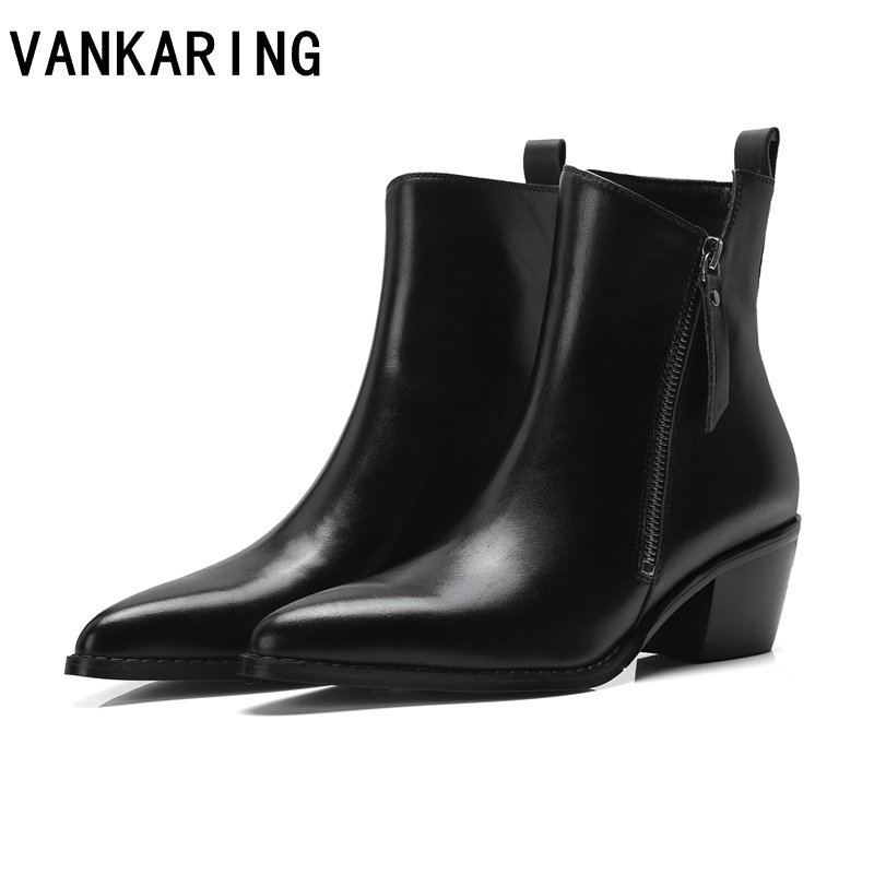 VANKARING brand shoes genuine leather high heels ankle boots pointed toe black shoes ladies dress winter snow boots women boots 2018 new autumn winter genuine leather women ankle boots high heels pointed toe zip sexy ladies snow boots black women shoes
