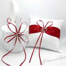 Beautifully presented 4 piece set of Satin Ring Pillow , Flower Basket, Guest Book and Pen Set for your Wedding Ceremony