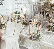 d896750ff 10 piezas de oro de la flor florero piso floreros de la columna de soporte  de Metal carretera boda MESA CENTRO DE MESA Flor de f.