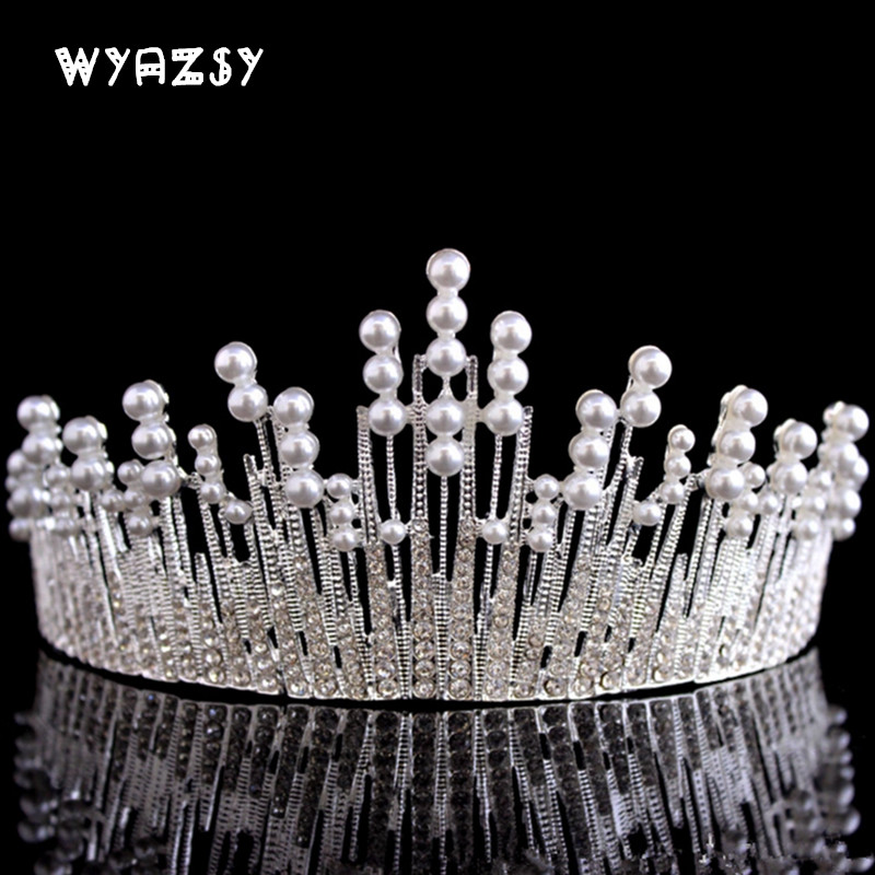 Vintage Silver Color Bridal Tiaras Crowns Headband Crystal Rhinestone Pageant Bride Hair Accessories Pearl Wedding Crown Jewelry