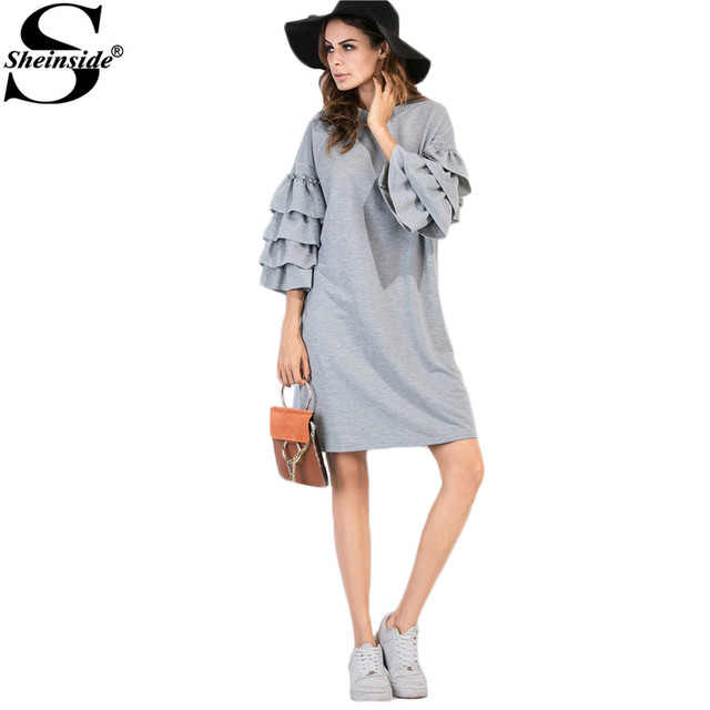 a24c92387f Sheinside Womens Dresses New Arrival European Style Autumn Winter Dress  Tiered Ruffle Sleeve Tunic Tee Dress