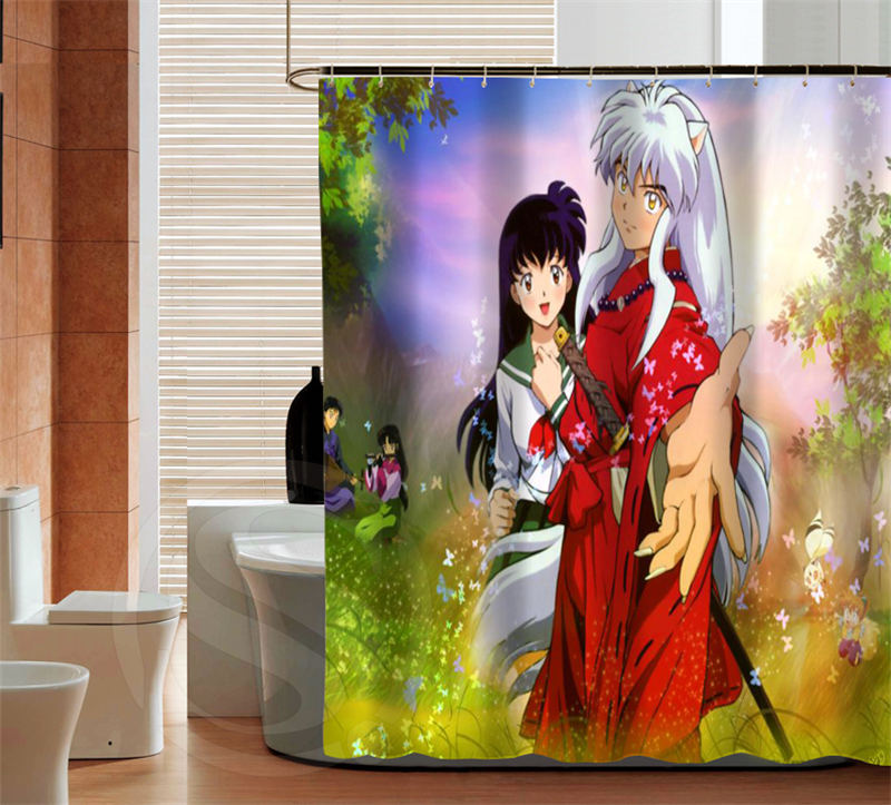 Retro Anime Inuyasha Shower Curtain Latest Fashion Custom Home Decor For The Bathroom In Curtains From Garden On Aliexpress