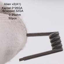 XFKM Ni80/A1/SS316 エイリアン v2 コイル RDA RTA アトマイザー電子タバコ蒸気を吸うペンアクセサリー 50 ピース/箱エイリアン V2 コイル