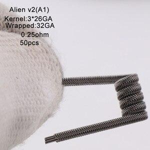 Image 1 - XFKM Ni80/A1/SS316 الغريبة v2 لفائف ل RDA تانك بخاخ RTA سيجارة إلكترونية القلم ملحق 50 قطعة/صندوق الغريبة V2 لفائف
