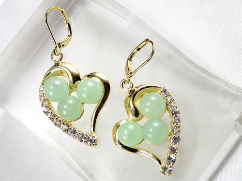 Latest Round Jade With Heart-shape Stud Earring 8mm