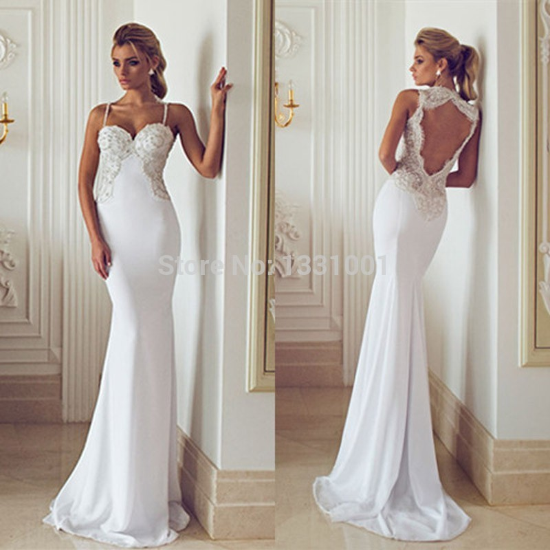 New fashion modern hijab style chiffon white mermaid for Backless mermaid style wedding dresses