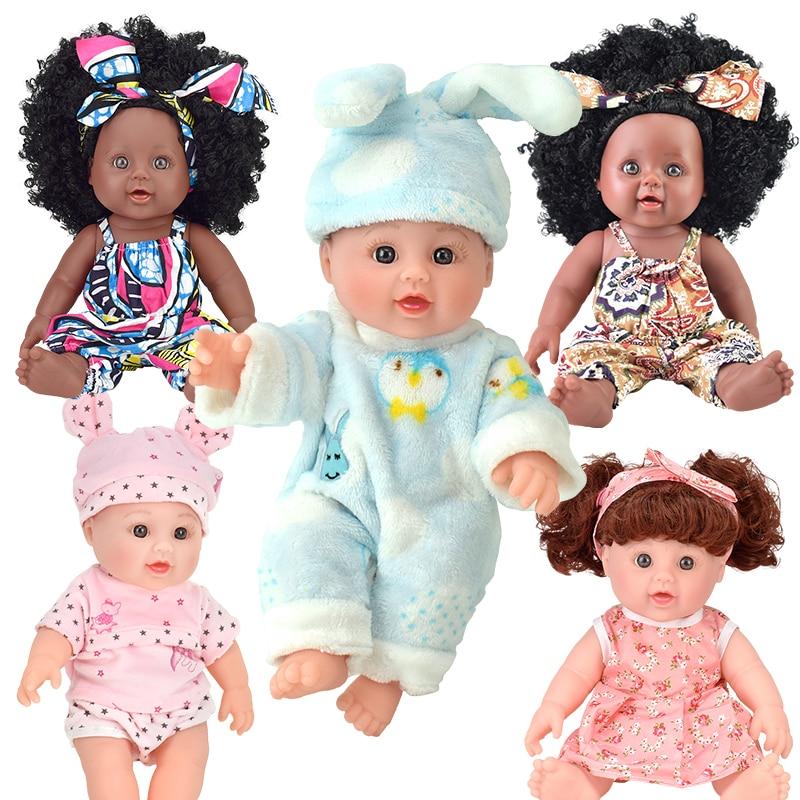 black reborn baby dolls pop hair cute! lol silicone vinyl 30cm12inch newborn poupee boneca baby soft toy girl kid princess