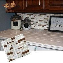 Самоклеющиеся мозаичные плитки Коричневый Камень продолговатые настенные наклейки DIY Кухня Ванная комната Домашний Декор винил