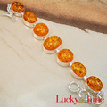 Fashion New New Hot Sell Handmade Friendship Bracelets for Women Shiny Orange Created Amber Silver Bracelet