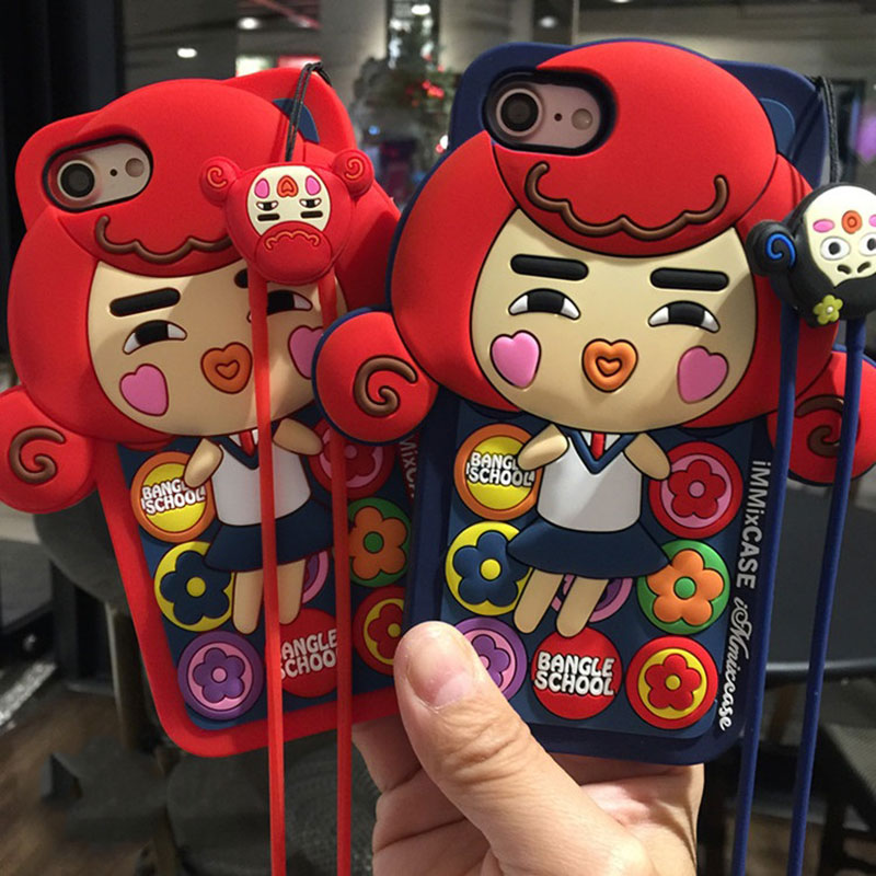 Fashion Cute Cartoon Girl Cell Phone Cases For iphone 6 6S plus Anti-knock Cheap Soft Silicone Cover For iphone 7 7plus Coque