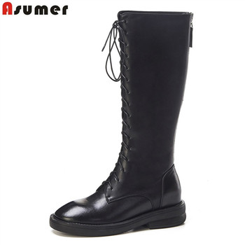 ASUMER 2020 new genuine leather boots round toe zip shoes cross tied autumn winter knee high boots classic motorcycles boots