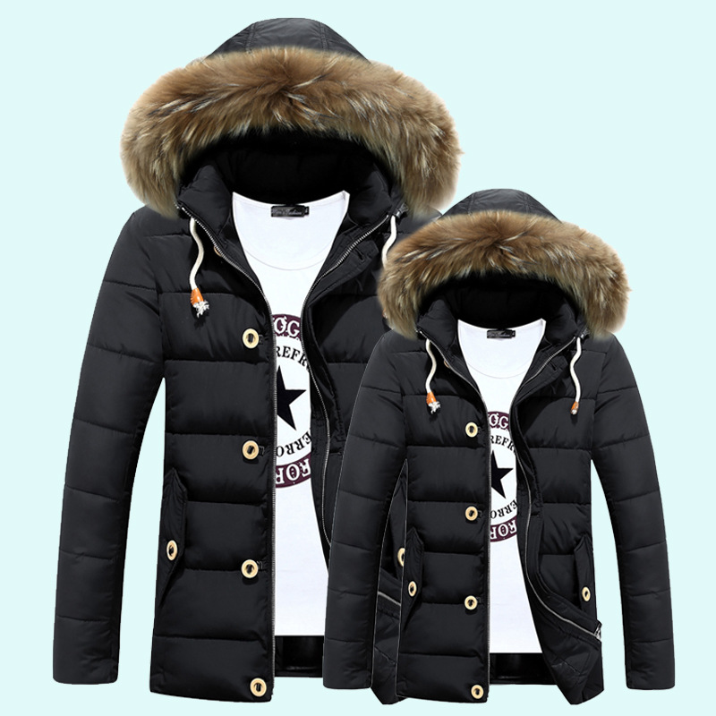 Men and women couple padded winter new British fashion hooded long section Nagymaros collar down coat