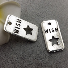 High Quality 20 Pieces/Lot 18mm*32mm Antique Silver Plated Hollow Out Wish Star Dream Moon Rectangle Tag Charms Pendants(China)