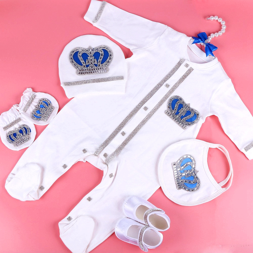 0-3 Month Newbron Baby Clothing Set White Color Cotton With Crown Rhinestone Crystal Long Foot Children Bodysuits & One-Pieces